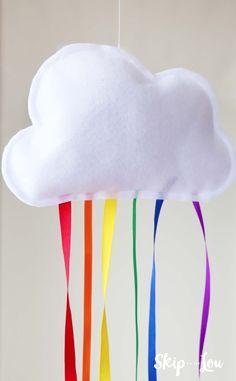 hanging rainbow cloud with rainbow