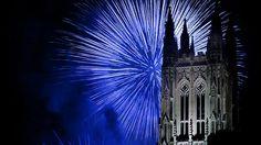 Fireworks over the chapel at Duke University in Durham, North Carolina