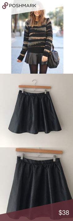 H&M Faux Leather Skater Skirt Black faux leather skater skirt by H&M's Divided. Rear zip. Size 6. EUC. H&M Skirts Circle & Skater