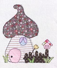 Stickmuster - Fliegenpilzhaus Doodle Stickdatei - ein Designerstück von feinliebshop bei DaWanda