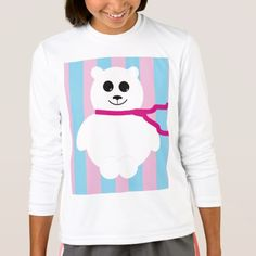 Polar Bear Drawing With Stripes T-Shirt - animal gift ideas animals and pets diy customize