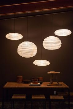 Designed by Noguchi and handmade for over a half century by the original manufacturer in Gifu, Japan, the paper lanterns are a blend of Japanese handcraft and modernist form. The lamps are created from handmade washi paper and bamboo ribbing, Japanese Home Decor, Japanese Modern, Asian Home Decor, Japanese Interior, Isamu Noguchi, Japanese Paper Lanterns, Paper Lantern Lights, Lantern Light Fixture, Homemade Home Decor