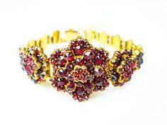 Victorian Bohemian Rose Cut Garnet Cluster Gold Filled Bracelet