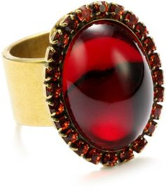 "$40.00 Liz Palacios ""Piedras"" Red Swarovski Crystallized Cabochon Ring, Size 7  From Liz Palacios   Get it here: http://astore.amazon.com/ffiilliipp-20/detail/B0040NO7YI/178-6115589-7260644"