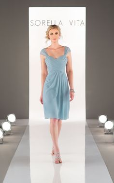 This Chiffon cap-sleeve bridesmaid dress is elegant and feminine. The criss-cross sweetheart bodice flows gracefully to a cocktail length skirt.