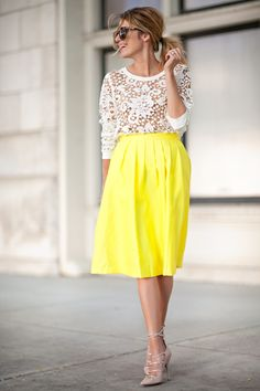 Love the lace top--love wearing a bright on the bottom vs. the top to not compete with my hair and makeup!-- not the right style of skirt for my body type but I like this outfit idea :)