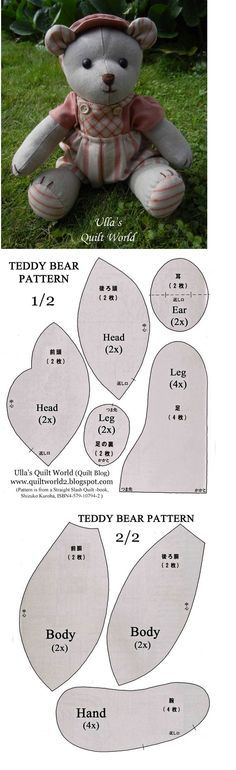 Free Memory Bear Pattern To Print – – Image Search Results - Stofftiere Sewing Stuffed Animals, Stuffed Animal Patterns, Softies, Plushies, Diy Teddy Bear, Teddy Bears, Sewing Crafts, Sewing Projects, Sewing Diy