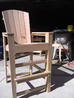 These Adirondack chair plans will help you build an outdoor furniture set that becomes the centerpiece of your backyard. It's a good thing that so many plastic patio chairs are designed to stack, and the aluminum ones fold up flat. Porch Furniture, Furniture Projects, Rustic Furniture, Outdoor Furniture, Wood Projects, Funky Furniture, Furniture Plans, Furniture Design, Adirondack Chair Plans