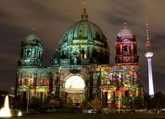 Berlin, Germany: The illuminated Berlin Dome, one day ahead of the official start of the seventh Festival of Lights.
