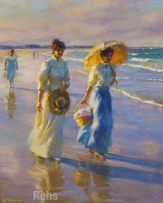 Gregory Frank Harris Along the Shoreline Art Gallery, Art Painting, Historical Painting, Figure Painting, Vintage Art, Art Sketchbook, Painting, Impressionist Paintings, Beautiful Art