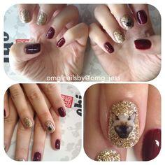 Glitter cat nail art!