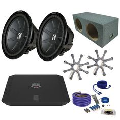 "Kicker CWR122 12"""" Bundle with DUBA1100D 1100 Watt Amplifier + Enclosure + Wire Kit"
