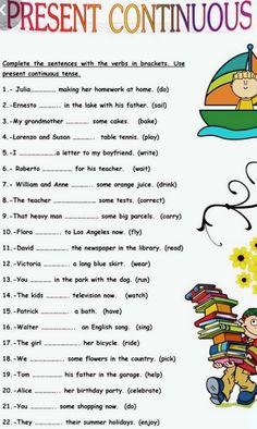 Present Continuous Tense, Simple Present Tense, Letter To My Boyfriend, English Reading, Plants Vs Zombies, English Language Learning, Grammar, Sentences, Preschool