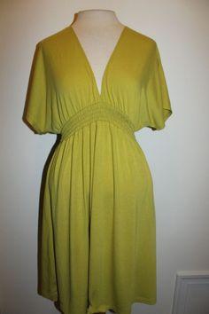 Mossimo Dress L Green V Neck Kimono Sleeve Empire Waist Stretch Dress #Mossimo #EmpireWaist #Casual