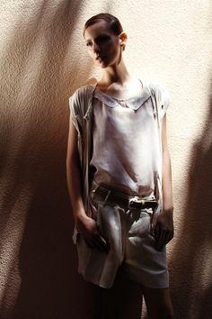 a spring 2012 look.   silk devore sleeveless top  silk crepe hand woven vest  silk/linen shorts