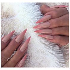 Nude And Coral Ombré Stilettos by MargaritasNailz