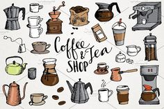 Coffee & Tea Shop Illustrations - This is a set of 31 vector format hand-drawn coffee and tea themed clipart. Includes coffee makers, coffee mugs, french press, espresso makers, coffee beans, to go cups, Turkish coffee, sugar & cream, lattes, coffee, teacups, teapots, and much more! great for making your own kitchen wall art and posters, coffee shop menus or decor, logos, and anything you can think of.