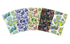 Josef Frank's Beloved Prints Now Available as Wallpaper: From left: Citrus Garden in pool; Exotic Butterfly in marine, multi, and white; and Citrus Garden in primary by Josef Frank.