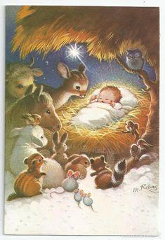 Marta Ribas Christmas Jesus, Christmas Nativity Scene, Christmas Art, Christmas Greetings, Winter Christmas, Christmas Drawing, Christmas Paintings, Vintage Christmas Images, Christmas Pictures