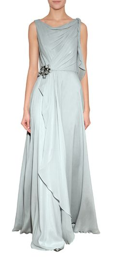 A stunning drape accentuates the goddess-like look of this pale cloud silk evening gown from Jenny Packham #Stylebop