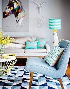 Modern Interior Trends, Geometric Decoration Patterns - This is my dream Lounge room, from the Mozi Cockatoo Lamp, Deer Heads and the Horse Canvas, everyth - Home Living Room, Living Room Designs, Living Room Decor, Living Area, Living Room Inspiration, Interior Design Inspiration, Design Ideas, Colour Inspiration, Design Trends