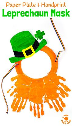 This Paper Plate and Handprint Leprechaun Mask is such a fun St Patricks Day craft for kids. Easy to make and fun for imaginative play as cheeky leprechauns! The best paper plate craft and handprint craft for St Paddys Day, so it is! St Patricks Day Crafts For Kids, St Patrick's Day Crafts, Preschool Crafts, Kids Crafts, Preschool Ideas, Craft Ideas, Daycare Crafts, Classroom Crafts, Activity Ideas