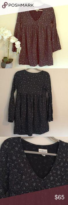 NWOT Ralph Lauren Denim & Supply Floral Dress Color Black with blue flowers and white polka dots. Size XS. Vneckline. Bell sleeves. Mini dress. Denim & Supply Ralph Lauren Dresses Mini