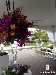 Pink  orange wedding flowers - Inn at Laurel Point, Victoria BC