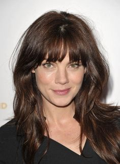 Michelle Monaghan's low maintenance hairstyle with breezy bangs.