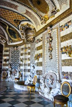 Shells and marble and gilt and more shells! Neues Palais, Potsdam, Germany.