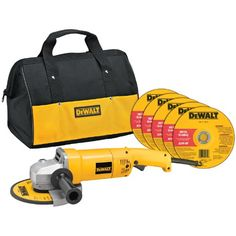 Dewalt Angle In.,no Load Rpm 8000 - HD Angle Grinder with Bag and Wheels Amp AC/DC, 000 rpm motor provides high power a - Speed Typing, Power To Weight Ratio, Dewalt Tools, Cordless Hammer Drill, Angle Grinder, Power Tools, Tool Kit, Angles, Home Improvement