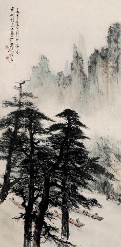 Li Xiongcai(黎雄才) ,    山水, 黎雄才(1910—2001)是20世纪中国杰出的国画家和美术教育家,岭南画派的杰出代表。1926年拜高剑父为师,翌年入春睡画院深造,1932年赴东京日本美术学校研习日本绘画。回国后长期在广东从事美术教育,任广州美术学院教授。艺术上致力于中国画山水、花鸟的探索。其山水画尤重行路写生,在生活中汲取创作动力和灵感,形成富于时代生活气息的生动画风,以富于个性特征的笔墨语言和构图强化了山水画的表现力。