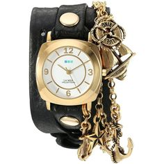 La Mer Collections Women's 'Nautical Charms' Quartz Gold-Tone and... (28.785 HUF) ❤ liked on Polyvore featuring jewelry, watches, leather wrap watch, leather jewelry, leather wrist watch, quartz wrist watch and quartz movement watches