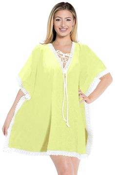 La Leela Designer Rayon White Lace Work Beach Swim Cover Up Tunic Kaftan Caftan -- Read more reviews of the product by visiting the link on the image.
