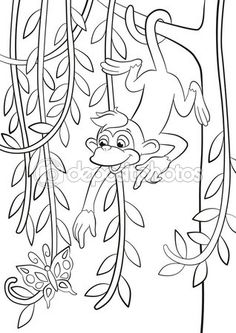 coloring pages little cute monkey is hanging on the tree branch in the forest smiling and poingting somethere - Coloring Pages Monkeys Trees