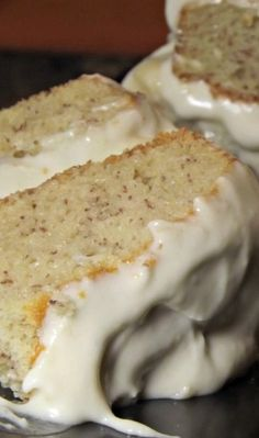 Banana Cake with Fresh Banana Frosting ~ This is the real deal retro-style. A classic banana layer cake from the 1940′s made in that simple old-fashioned style like Grandma used to bake.