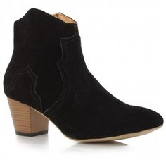 $189.00 ISABEL MARANT BROWN DICKER VELVET BOOTIE IN BLACK