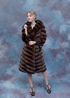 Brown chinchilla fur coat