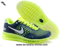 New Dark Blue Fluorescent Green White Nike Air Max 2013 Dragon 2013 Free Shoes