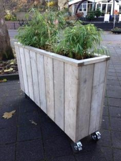 Planter / Flower box / scaffolding wood / also made to measure! Stone Planters, Flower Planters, Outdoor Landscaping, Backyard Patio, Outdoor Decor, Scaffolding Wood, Rectangular Planters, Wooden Planter Boxes, Patio Flooring