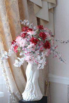 """Купить Шелковый букет """" Розовое счастье"""". Интерьерная композиция. - розовый, розовый букет.Ирина Сотникова."""