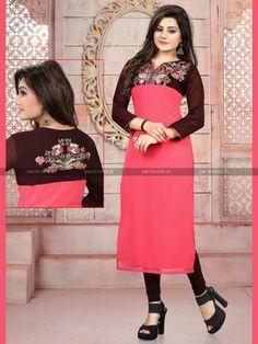 Dark Brown N Pink Georgette Trendy Designer Kurti