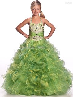 Wholesale 2012 New Hot Beautiful Ball Gown Halter Floor-length Beaded Layers Organza Sequined Little Girls' Pageant Dresses Sugar Dress, Free shipping, $97.44-110.88/Piece | DHgate