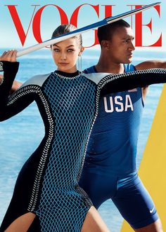 Going for Gold - Gigi Hadid and Ashton Eaton by Mario Testino for Vogue US August 2016 cover