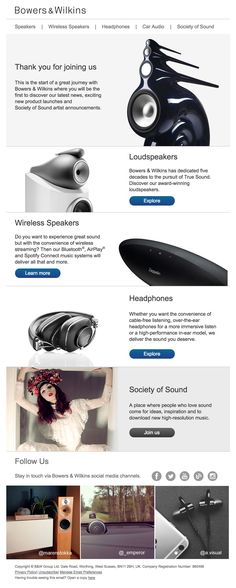 Subject Line: Welcome to Bowers & Wilkins Welcome Emails, Loudspeaker, Wireless Speakers, Car Audio, Auction, Speakers