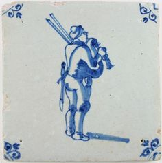 Antique Dutch Delft with a bagpipe player (musician), 17th century