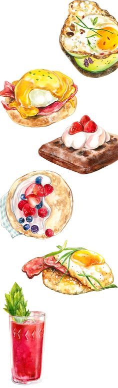 is a cookbook Juliette Kim designed and illustrated for typography 2 class at Rhode Island School of Design (RISD). Watercolor Food, Watercolor Illustration, Watercolour, Food Doodles, Brunch, Food Sketch, Food Painting, Food Drawing, Kitchen Art