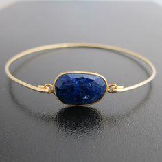 Navy Blue Lapis Lazuli Bracelet - 14k Gold Filled Bangle - Genuine Gemstone - Lapis Lazuli Jewelry, Lapis Lazuli Bangle, Lapis Bracelet. $39.95, via Etsy.