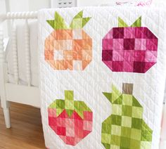 Fruit Salad Ombre Fabric Quilt PDF Pattern is part of painting Fabric Quilt - This is a PDF file Quit finished size 75 x 83 Traditional piecing and one template for strawberry middle leaf This pattern uses V and Quilting Projects, Quilting Designs, Sewing Projects, Quilting Ideas, Diy Projects, Small Quilts, Mini Quilts, English Paper Piecing, Ombre Fabric