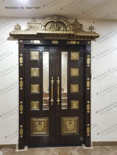 Artisticks pooja room door designs are a mix of the modern and traditional and include simple symmetric patterns that are uncomplicated and pleasant to elaborate ethnic motifs. Wooden Temple For Home, Temple Design For Home, Pooja Room Door Design, Home Room Design, Wooden Main Door Design, Wood Design, Indian Doors, Village House Design, Living Room Tv Unit Designs